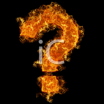 Fire sign query mark on a black background