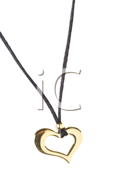 heart pendant of gold isolated on a white
