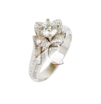 ring of gold with gems isolated on a white