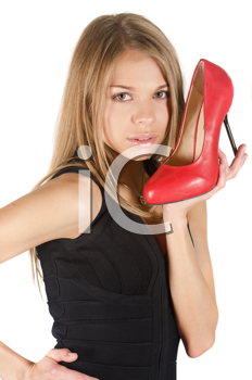 beautiful young woman with a red shoe on white