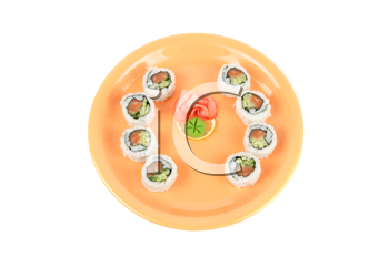 Closeup japanese sushi set at plate on a white
