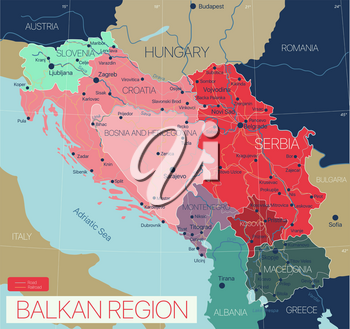 Balkan region detailed editable map with cities and towns, roads and railways. Vector EPS-10 file