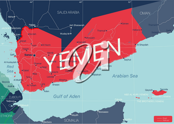 Yemen country detailed editable map with regions cities and towns, roads and railways, geographic sites. Vector EPS-10 file