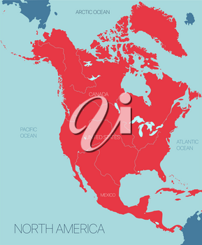 North America continent vector map with countries. Vector editable illustration. Trending color scheme