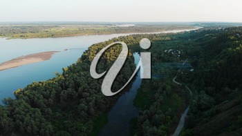 Aerial view of big siberian Ob river and boats in beauty summer day, 4K drone footage.