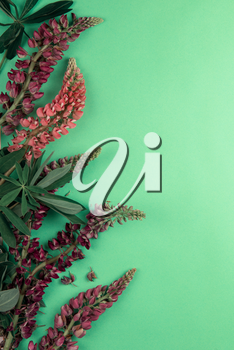 Green paper mockup for text with decor made of flower lupine