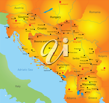 Royalty Free Clipart Image of the Balkan Region