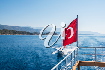 Turkish Flag from yacht, Turkey