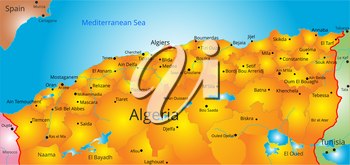 Vector color map of Algeria country