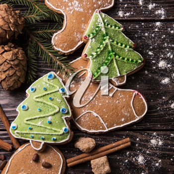 Homemade gingerbread cookies with tea