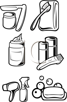 Royalty Free Clipart Image of a Set of Hygiene Products