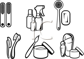 Royalty Free Clipart Image of Beauty and Cleaning Supplies