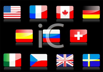 Royalty Free Clipart Image of Flags