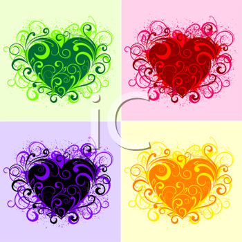 Royalty Free Clipart Image of a Flourish Heart Background