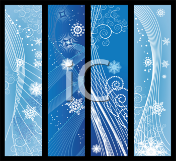 Royalty Free Clipart Image of Christmas Banners