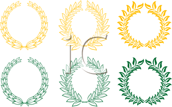 Royalty Free Clipart Image of a Set of Gold and Green Laurel Wreaths