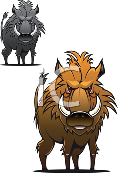 Royalty Free Clipart Image of Wild Boars