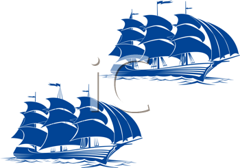Royalty Free Clipart Image of Ships