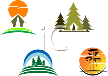 Royalty Free Clipart Image of Tourism Symbols