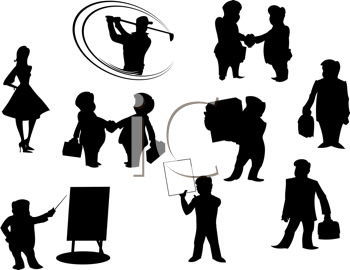 Set of cartoon silhouettes isolated on white background. All peoples manually painted