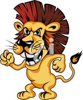 Angry cartoon lion isolated on white background