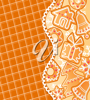 Gingerbread colorful background for christmas or new year holiday design