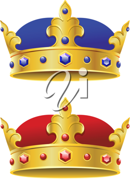 Royal crowns isolated on white background for heraldry design