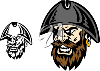 Angry corsair and pirate captain for mascot design