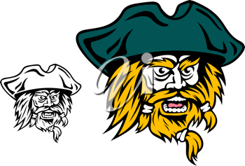 Shouting pirate captain head for mascot design
