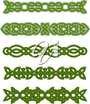 Green celtic ornaments and embellishments for design and decorate