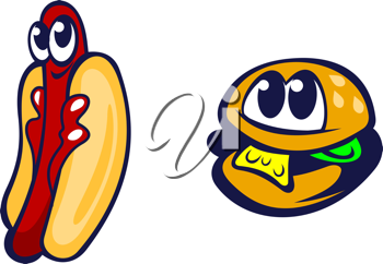 Hamburger and hot dog in cartoon style for fast food design