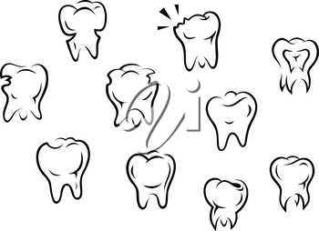 Set of health and illness teeth isolated on white background