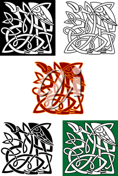 Celtic totems with heron birds and ornamental elements for medieval culture or religion design