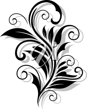 Beautiful floral pattern with shadows for design and ornate