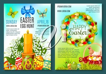 Easter holiday poster and Egg Hunt celebration invitation flyer template. Easter egg and spring flower wreath with green grass, chicken, egg hunt basket, ribbon, bow, butterfly and candle