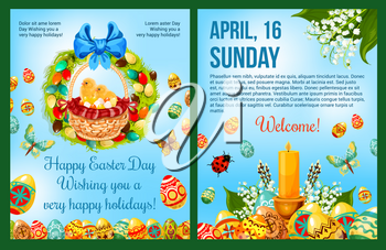 Easter Day celebration poster template. Easter eggs and chicken chicks in egg hunt basket with floral wreath and ribbon bow, lily flower, butterfly, willow tree and candle. Easter holiday flyer design