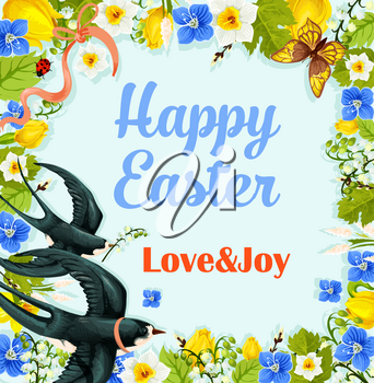 Happy Easter poster or greeting card. Paschal wreath of blue flowers, swallow with lily or willow and butterflies. Vector template for Easter or Resurrection Sunday springtime religion holiday design