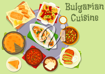 Bulgarian cuisine tasty dinner icon of stuffed pepper with cheese and herbs, tomato paprika sauce, fish baked with tomato, potato onion pie, beef vegetable stew, grilled veggies, sweet lemon pie