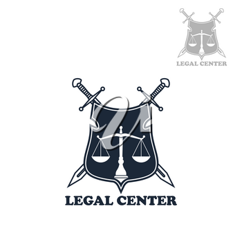 Law firm badge of heraldic shield with scales of justice and crossed swords. Lawyer office emblem, legal center symbol, attorney service theme design