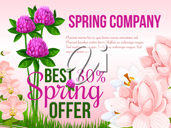 Spring Sale vector poster for springtime holiday discount offer and shopping promotion. Floral design of blooming clover flowers and orchid bouquets on spring grass meadow