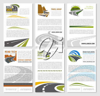 Travel company or road trip banners set for car tour and bus tourist agency. Templates for transportation or tourism service with symbols of highways or motorways