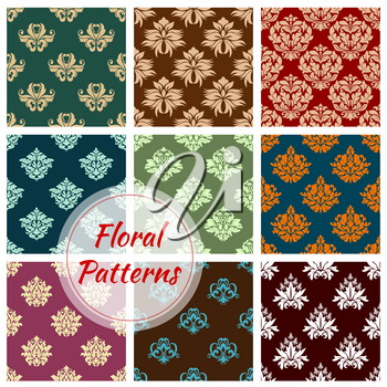 Damask floral pattern of seamless flourish baroque ornaments. Vector flowery tracery adornments set. Vector luxury ornamental antique rococo and vintage motif patterns design for interior decor tiles