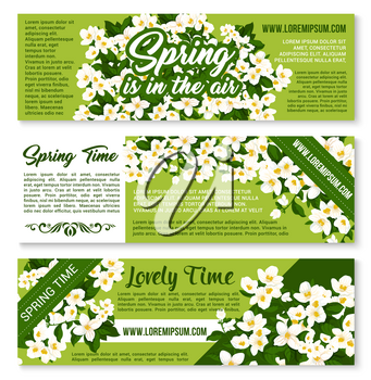 Welcome Spring Time vector banners of blooming springtime flowers, flourish wreath and jasmine bouquets for greeting poster. Springtime holidays wishes and quotes with snowdrops or crocuses blossoms