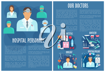 Hospital personnel. Vector brochure for urology, dietetics healthcare, dentistry and ophthalmology medical staff and medicines of eye glasses, tooth implant, urogenital catheter syringe and pills