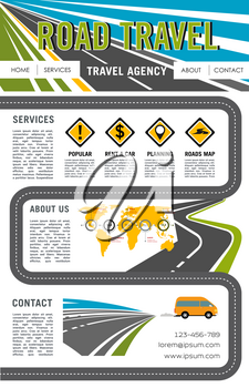 Road travel company vector landing page or web site layout template with navigation buttons. Tourist trip tour or journey service design for car rent and travel destinations with world map