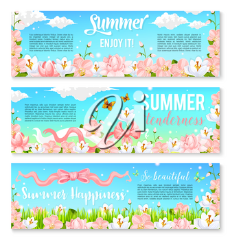 Enjoy summer banners of blooming orchids or crocuses and floral bouquets of daffodils flowers in green grass field. Vector design of summer nature in blooom and floral bunches for summertime