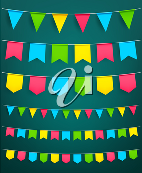 Flag garland set. Vector isolated symbols of bunting paper flags on thread for carnival or festival celebration, new year or Christmas party and happy birthday decoration design template
