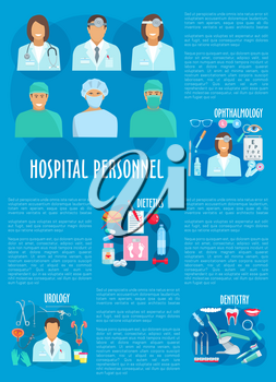 Dentistry, urology, dietetics and ophthalmology medical personnel and hospital doctor poster. Dentist, urologist, dietitian and ophthalmologist with pill, syringe, tooth, eye drop, surgical instrument