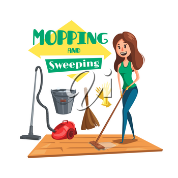 Mopping and sweeping home work or cleaning service vector poster. Woman or housewife cleaning room floor with vacuum cleaner, wet mop rag, broom or brush with water bucket and rubber gloves