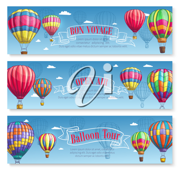 Hot air balloon tour or voyage banners set. Vector sketch design of inflated hopper balloons with pattern decor of zig zag, stripes or square checkered patch for summer vacations or open air festival